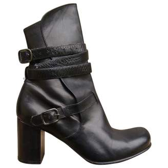 Stephane Kelian Black Leather Ankle Boots