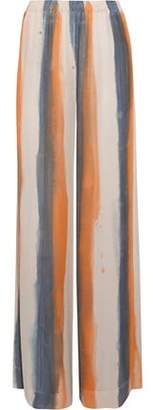 Raquel Allegra Gathered Striped Silk Crepe De Chine Wide-Leg Pants