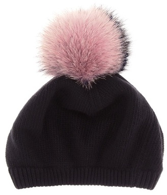Fur-trimmed wool and cashmere hat