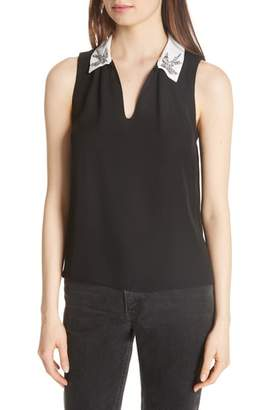 Rebecca Taylor Bird Applique Sleeveless Silk Top