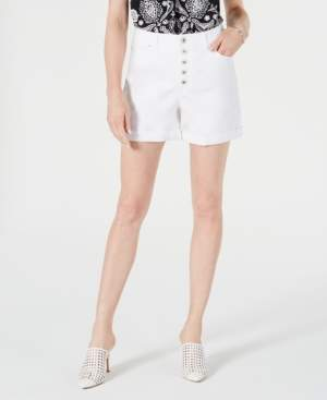 INC International Concepts I.n.c. High-Rise Button-Fly Curvy-Fit Jean Shorts, Created for Macy's