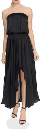 Halston Strapless Ruched Handkerchief Hem Maxi Dress