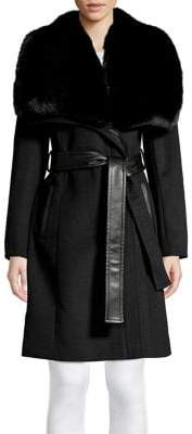 Via Spiga Faux Fur Collar Belted Coat