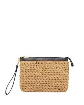 Saint Laurent Monogram Raffia Wristlet Pouch Bag