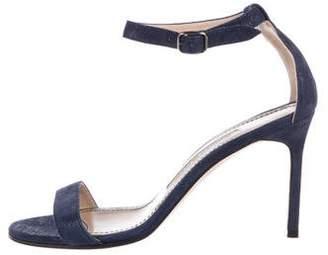 Manolo Blahnik Metallic Suede Sandals