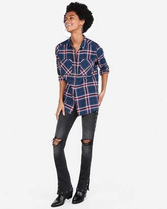Express Dark Blue Plaid Flannel Boyfriend Shirt