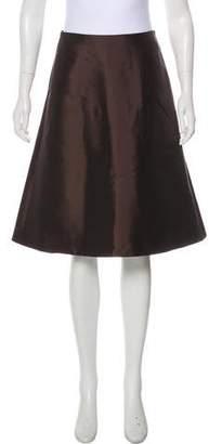 Salvatore Ferragamo Satin A-Line Skirt