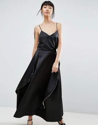 Asos Satin Paneled Maxi Skirt