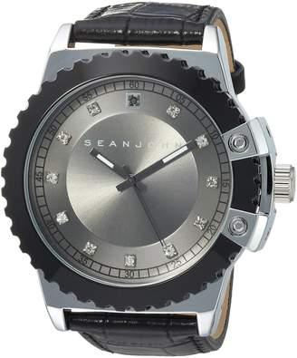 Sean John Men's 10030885 Genuine Diamond Analog Display Japanese Quartz Black Watch
