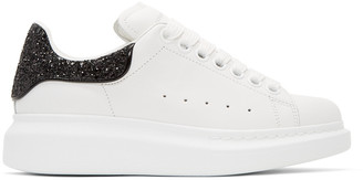 Alexander McQueen White & Black Glitter Oversized Sneakers $575 thestylecure.com