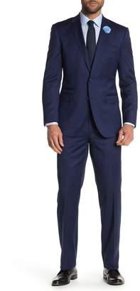 English Laundry Blue Sharkskin Two Button Notch Lapel Wool Suit
