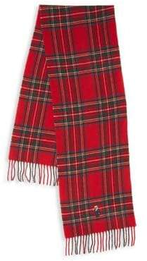 Polo Ralph Lauren Plaid Bear-Embroidered Wool-Blend Scarf