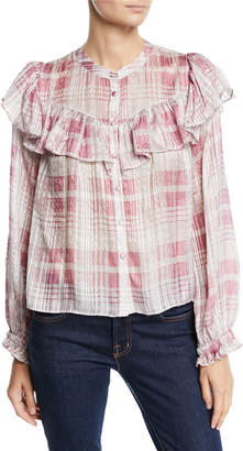 LoveShackFancy Erica Check Silk Jacquard Ruffle Blouse