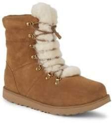 UGG Little Girl's Viki Waterproof Suede & Sheepskin Boots