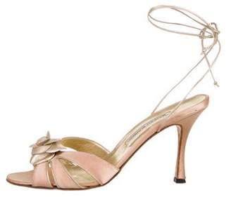 Manolo Blahnik Satin Floral Sandals