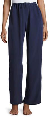 Christine Lingerie Opal Drawstring Silk Lounge Pants, Dark Blue
