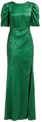 Saloni Annie B Snake Jacquard Silk Gown - Womens - Green
