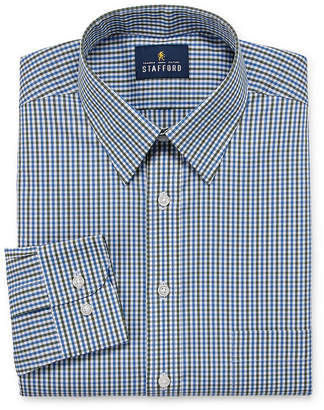 STAFFORD Stafford Comfort Stretch Big And Tall Long Sleeve Woven Checked Dress Shirt