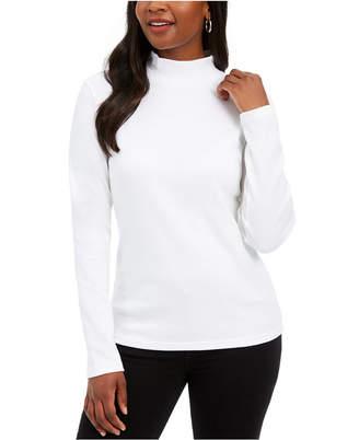 Karen Scott Petite Long-Sleeve Mock-Neck Cotton Top