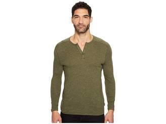John Varvatos Knit Henley with Vertical Pickstitch Sleeve Seam Detail Men's Clothing