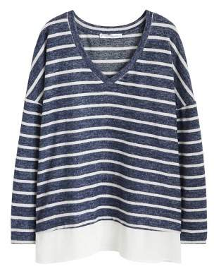 Violeta BY MANGO Striped shirt hem t-shirt