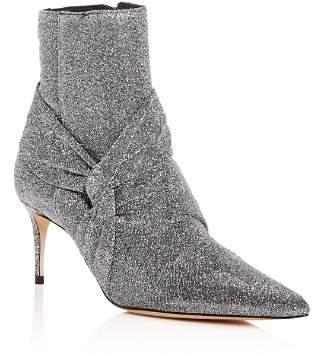 Schutz Women's Adryen Glitter Pointed Toe Mid-Heel Booties