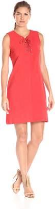 Sandra Darren Women's 1 Pc Sleeveless Knit V-Neck Lace Up Dress