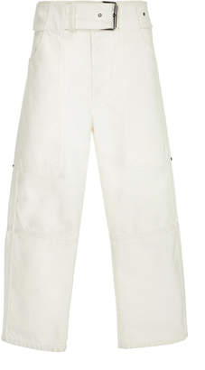Proenza Schouler PSWL Belted Utility Denim Straight Leg Cropped Pant
