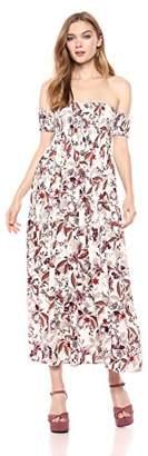 Romantic Dreamers Women's Off-Shoulder Smocked Floral- Maxi Dress