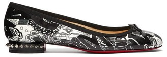 Christian Louboutin La Massine Graffiti Pattern Ballet Flats - Womens - Black White