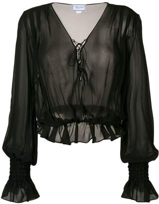 Redemption long-sleeve sheer blouse