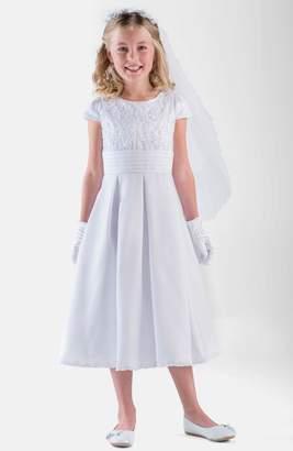 Us Angels Box Pleat Lace Bodice Dress