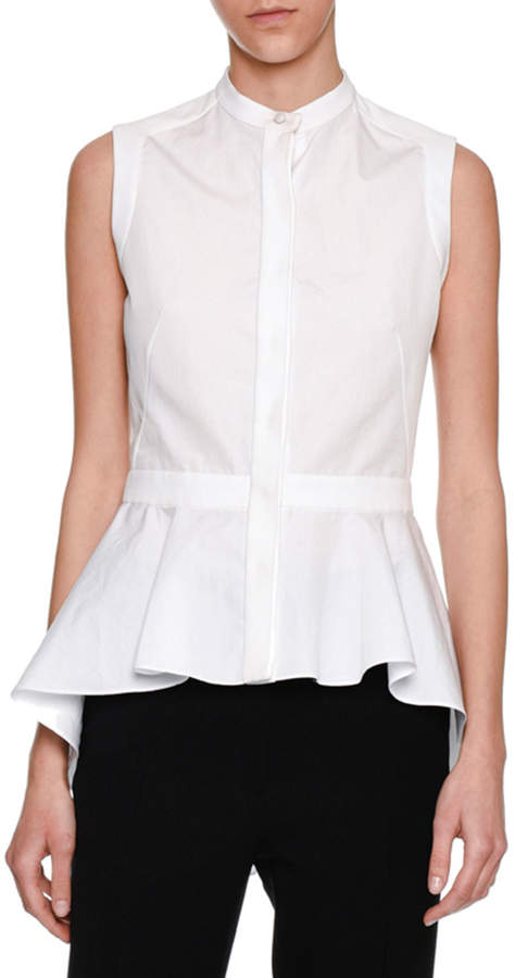 Alexander McQueen Sleeveless Waterfall Peplum Shirt, White