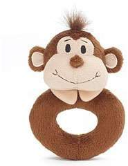 Burton Little Freckles Monkey Donut Shaped Plush Rattle by &