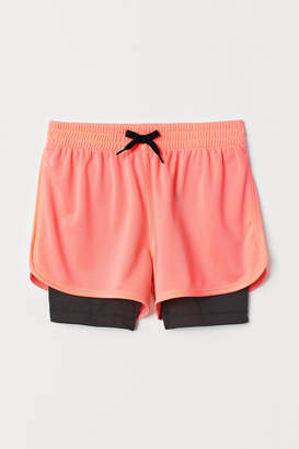 H&M Double-layer Sports Shorts - Pink