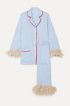 Sleeper - Satin And Feather-trimmed Crepe De Chine Pajama Set - Blue