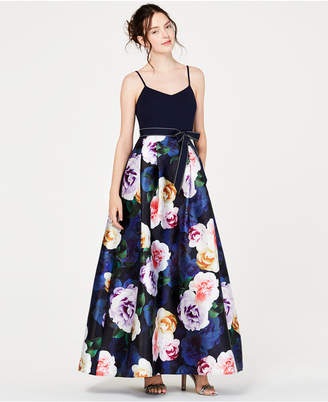 Teeze Me Juniors' Solid-Top Floral-Skirt Gown, Created for Macy's