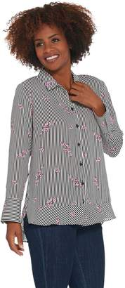 Joan Rivers Classics Collection Joan Rivers Floral Striped Shirt with Ruffle Detail