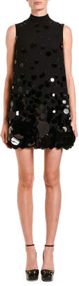 Prada Sequined Mock-Neck Mini Dress