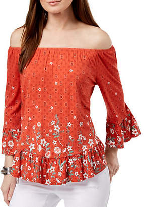 a8499a99aa1 STYLE   CO. Petite Printed Off-The-Shoulder Flounce Top