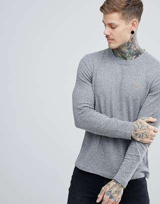 Farah Lesser Slim Fit Waffle Textured Long Sleeve Top in Gray