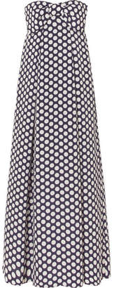 J.Crew Bow-embellished Polka-dot Chiffon Maxi Dress - Navy
