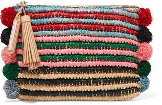 Loeffler Randall Pompom-embellished Leather-trimmed Straw Clutch - Green