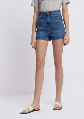 Emporio Armani High-Waisted Shorts In Cotton Denim