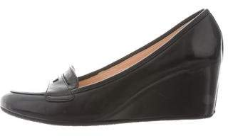 Baldinini Round-Toe Leather Wedges