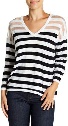 Michael Stars 3/4 Sleeve Striped V-Neck Pullover