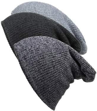 Novawo 3pcs Slouchy Beanie Hats Skull Cap Knit Hat Baggy Beanie for Men Women