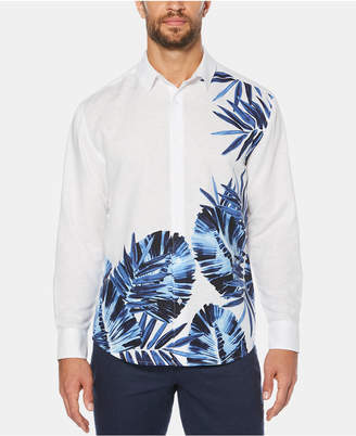 Cubavera Men Leaf-Print Long-Sleeve Linen Shirt