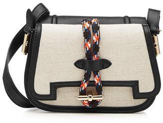 Carven Mazarine Saddle Shoulder Bag with Leather