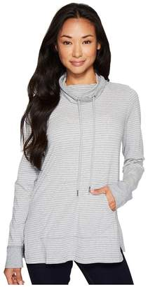 Mod-o-doc Heather Stripe Jersey Cowl Neck Pullover with Kangaroo Pocket Women's Sweatshirt